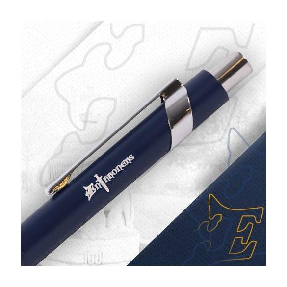 Kék fém toll gravírozott logóval